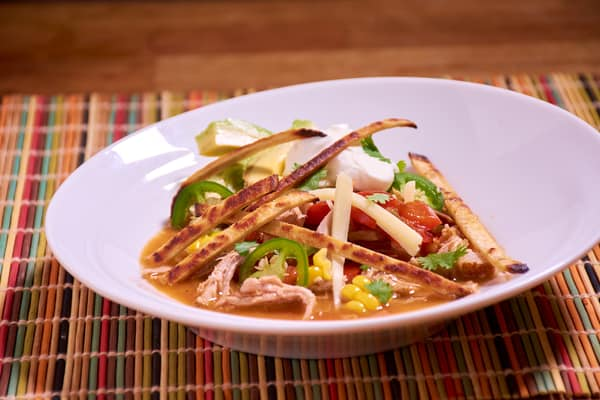 Sous vide tortilla soup shredded pork side