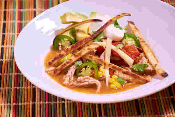 Sous vide tortilla soup shredded pork side top