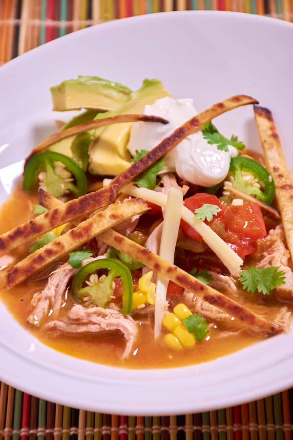 Sous vide tortilla soup shredded pork side top v