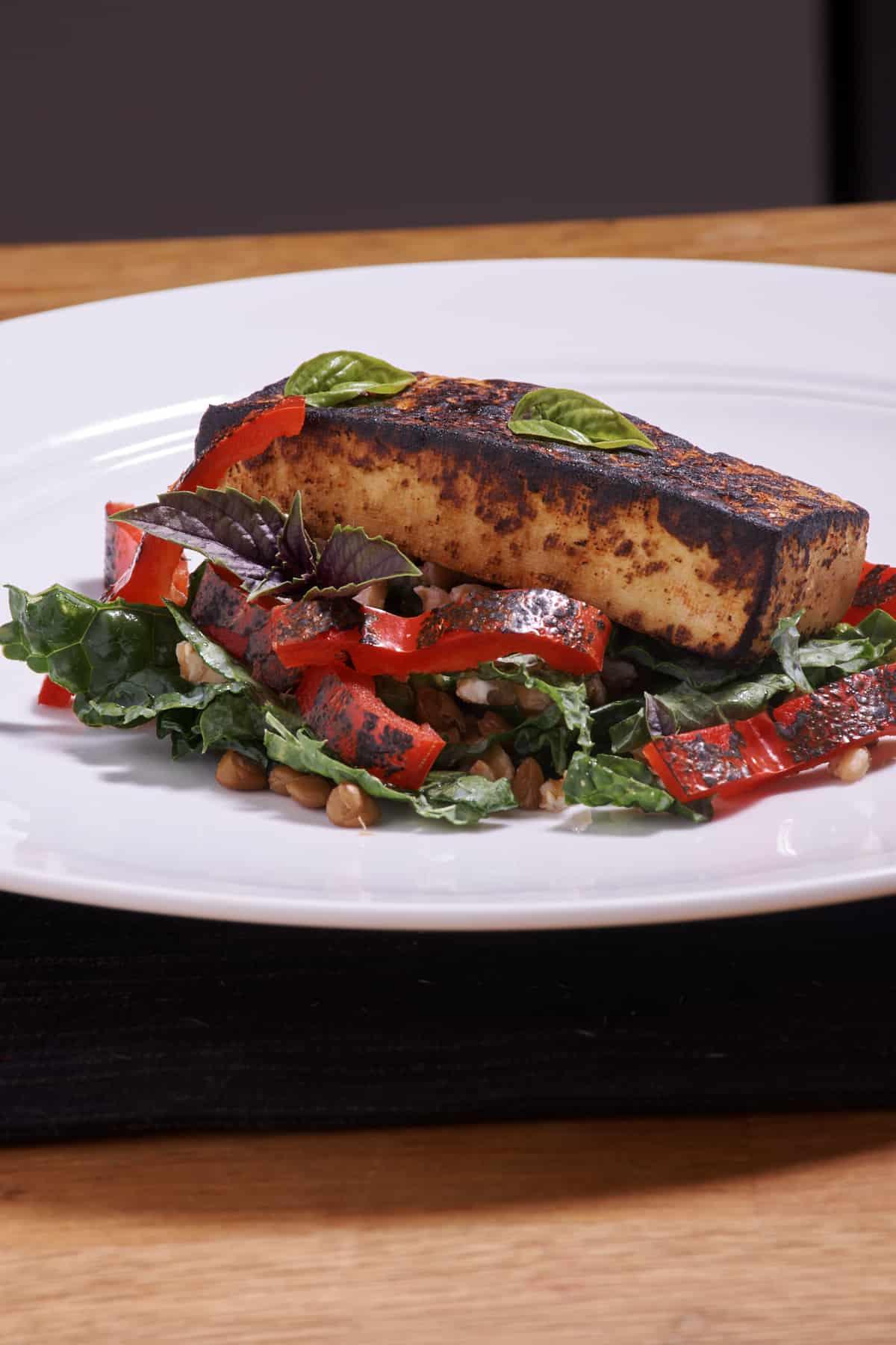 Sous Vide Harissa Marinated Tofu and Kale Bowl Recipe