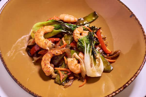 Sous vide shrimp stir fry seared 3
