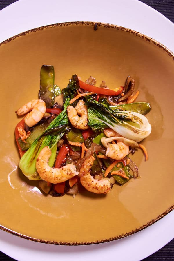 Sous vide shrimp stir fry seared 1