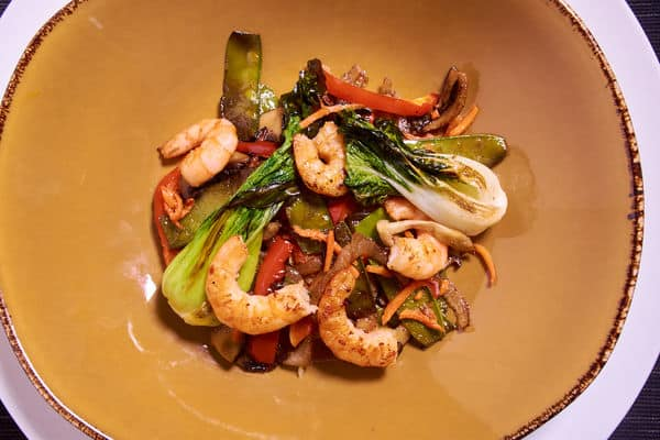 Sous vide shrimp stir fry seared 2