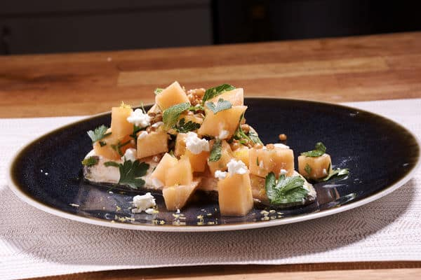 Sous vide halibut melon salad