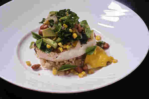 Sous vide swordfish corn bean salad 6