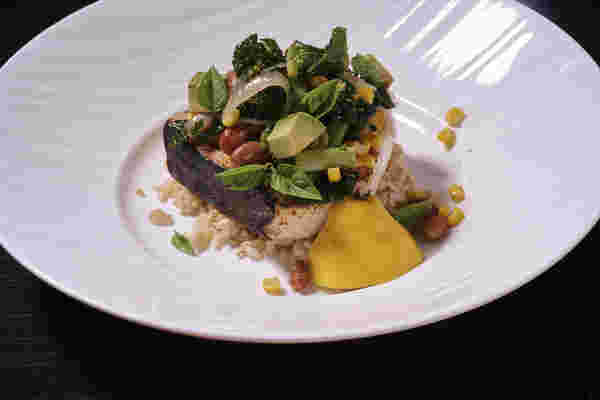 Sous vide swordfish corn bean salad 8