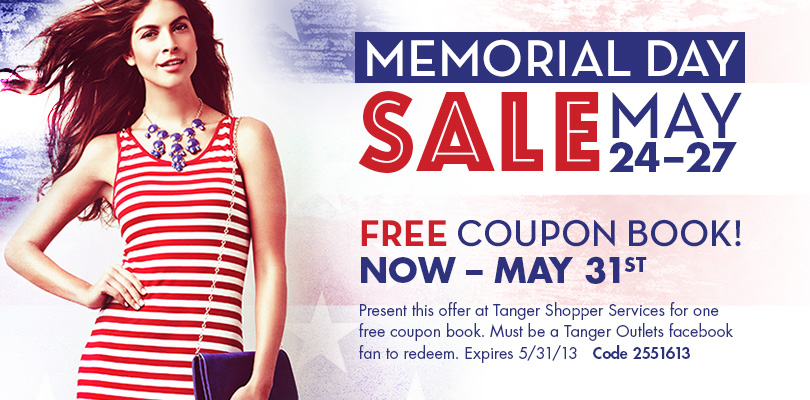 FREE coupon book at Tanger Out...