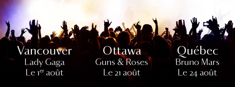 BILLETS GRATUITS CHAQUE VENDREDI : Vancouver, Ottawa & la Ville de Québec