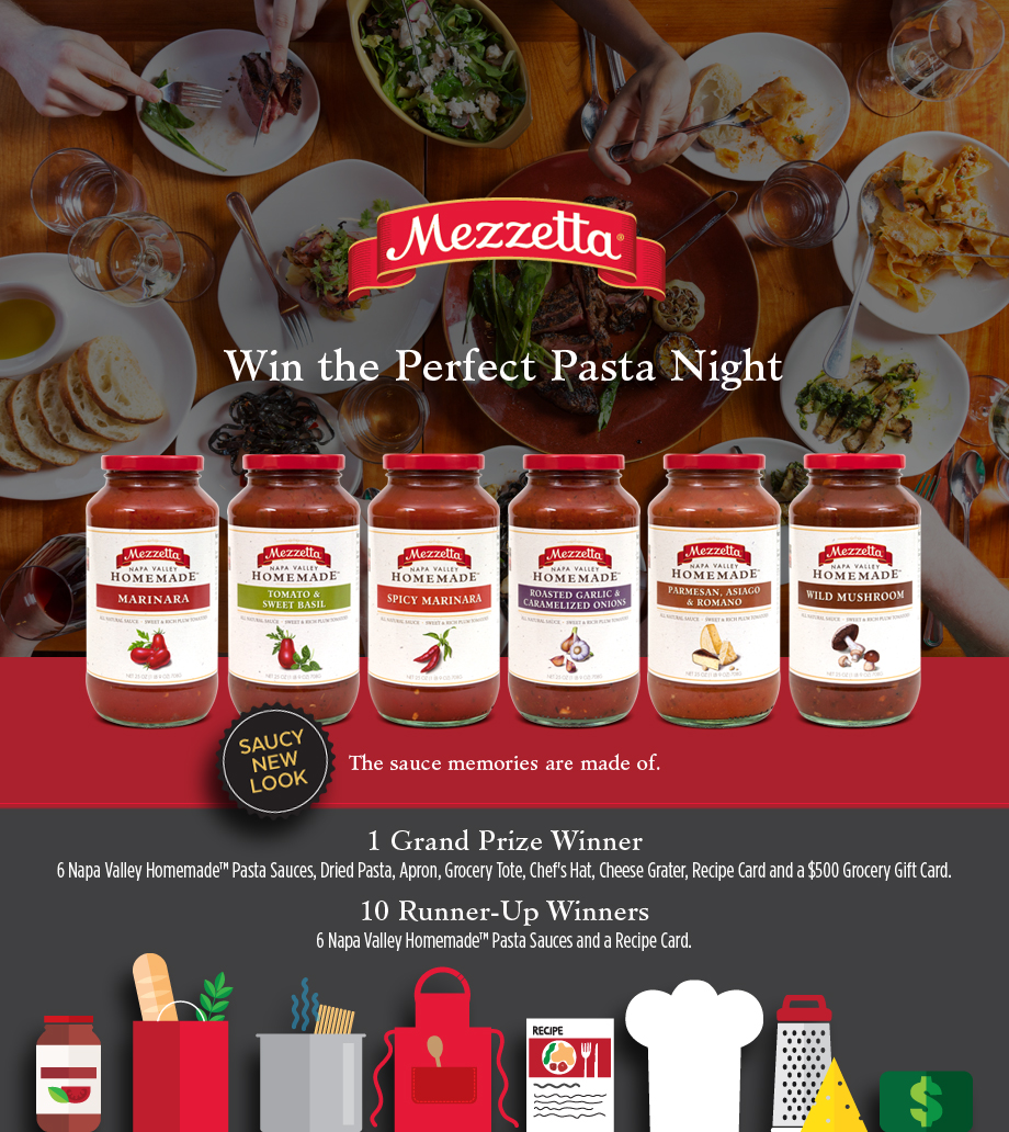 55ce6da4bda314168d0af660 - Win a  $500 Grocery Card/Perfect Pasta Night with Mezzetta Foods