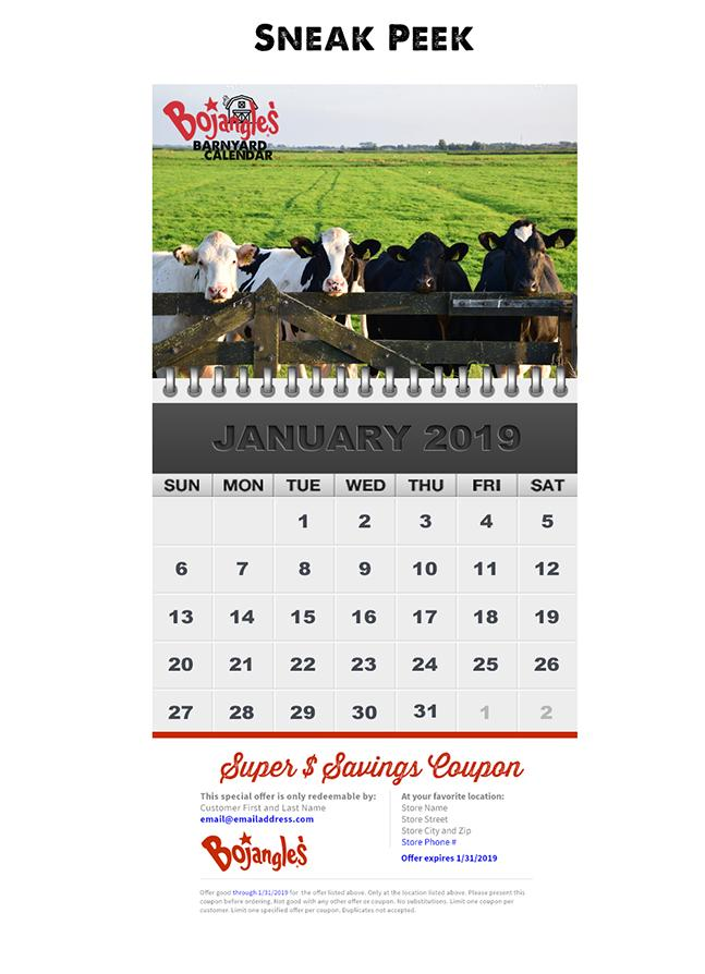 photograph relating to Bojangles Printable Coupons known as Bojangles Barnyard Calendar