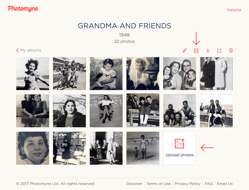 Transfer photos from your computer straight into the Photomyne app