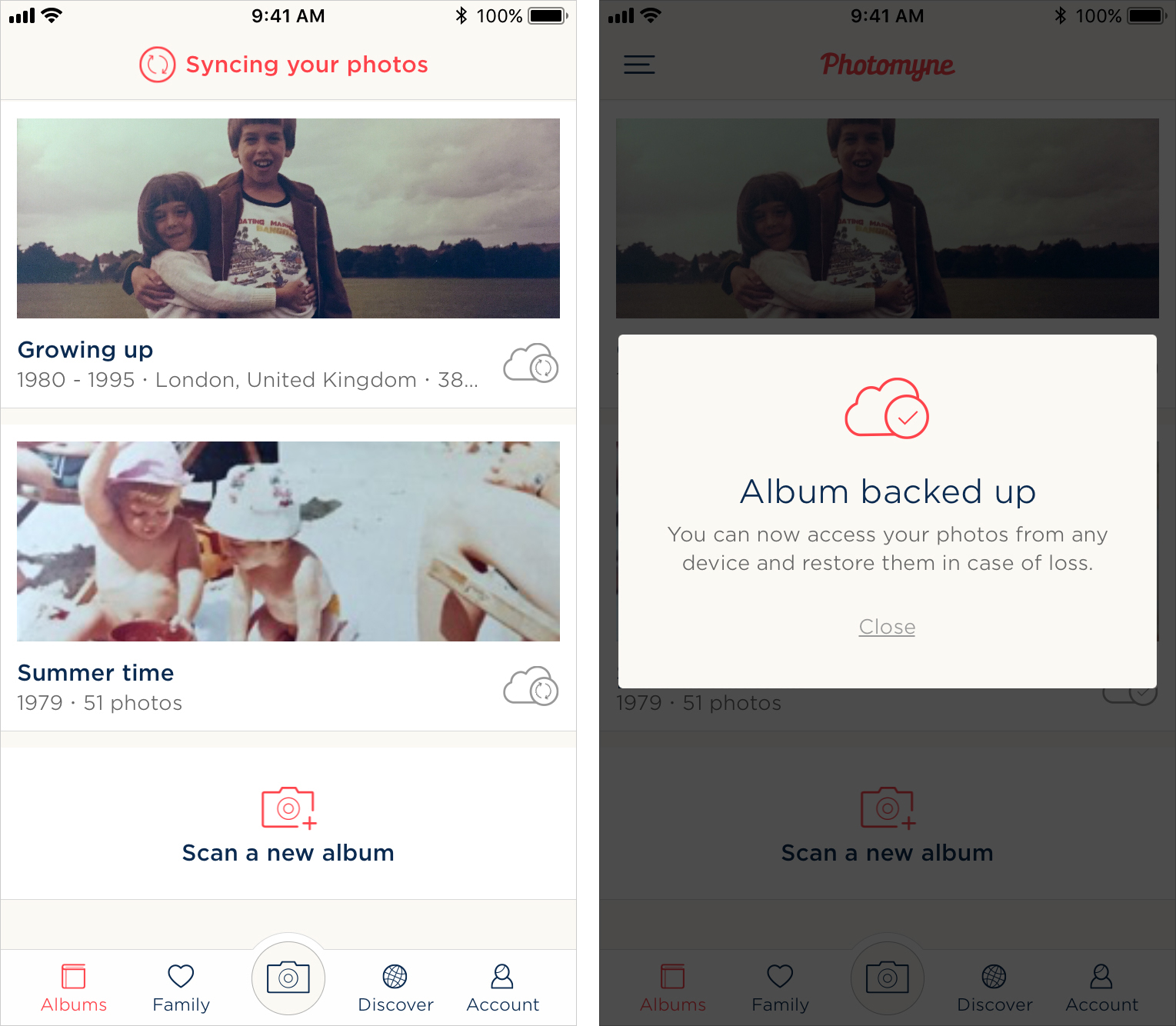 The Photomyne app while backing up photos