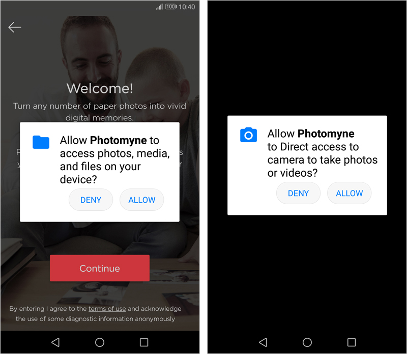 Storage and camera permissions on Android