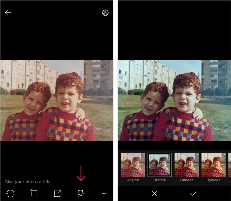 Left: tap the magic wand icon. Right: play with the filters to see which one works best on your photo. When you are ready, click the check sign icon to apply and save.