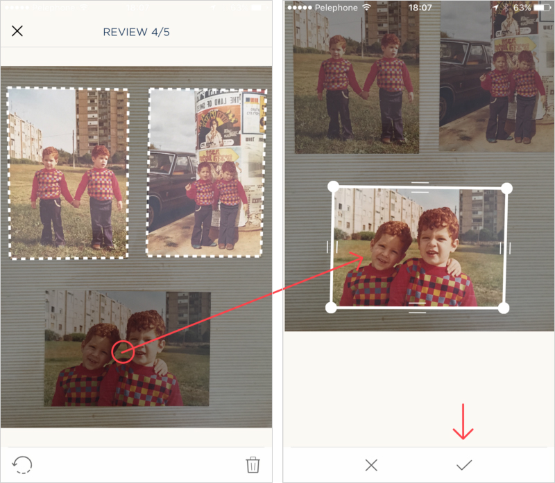 Left: Tap a missing photo to add it. Right: Tap the check sign icon on the bottom menu to save the photo and and add it to the album with all the rest.