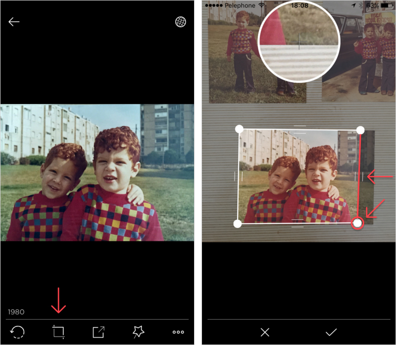 Left: tap the crop icon to enter its crop edit mode. Right: While dragging the round knobs you will see a zoomed in bubble of the affected photo corner . It will show you real time preview of your manual cropping. Drag the ribs to adjust the bounding box for cropping.