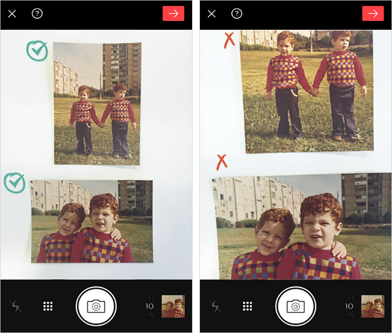 Making sure all four corners of each photo are included in the scanning screen.