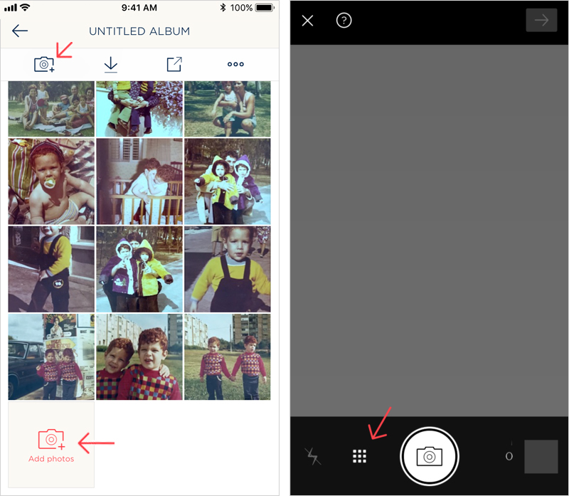 Left: tap the Add photos camera icon. Right: tap the Import icon to access photo libraries on your device.