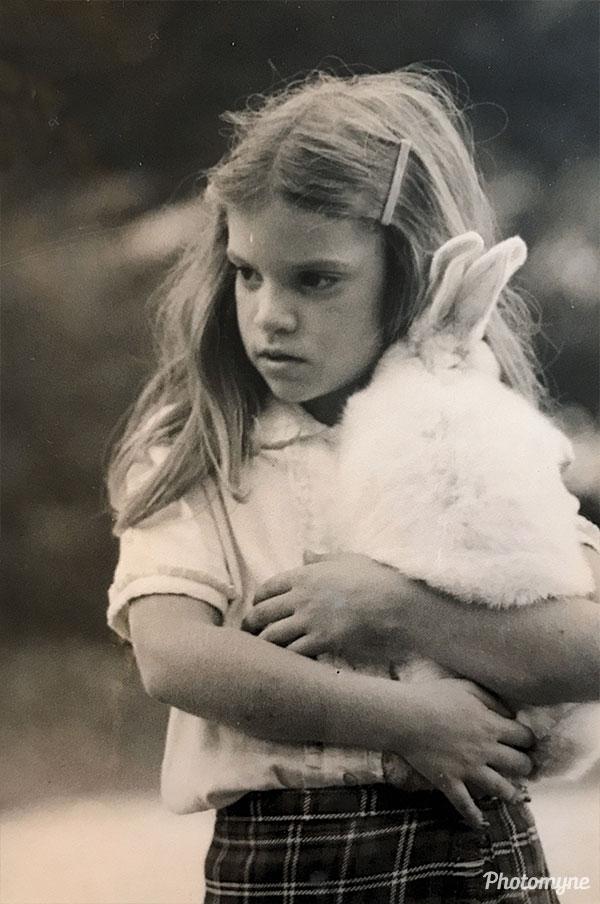 Cousin Carolina Sanguinetti with the rabbit Sebastián. Buenos Aires, Argentina 1979