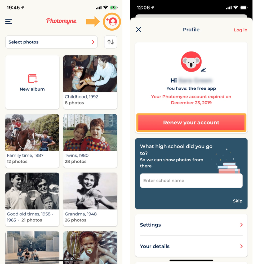 Share photos and choose Photomyne to transfer photos
