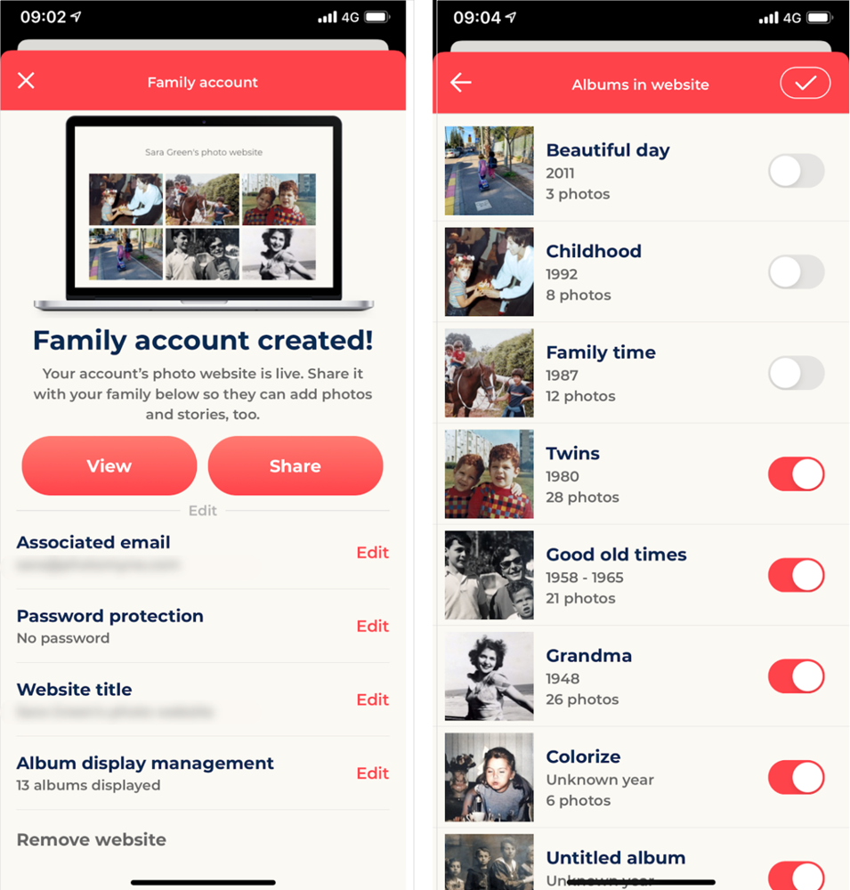 Once a Family Account is created, you have numerous customization and management options to choose from