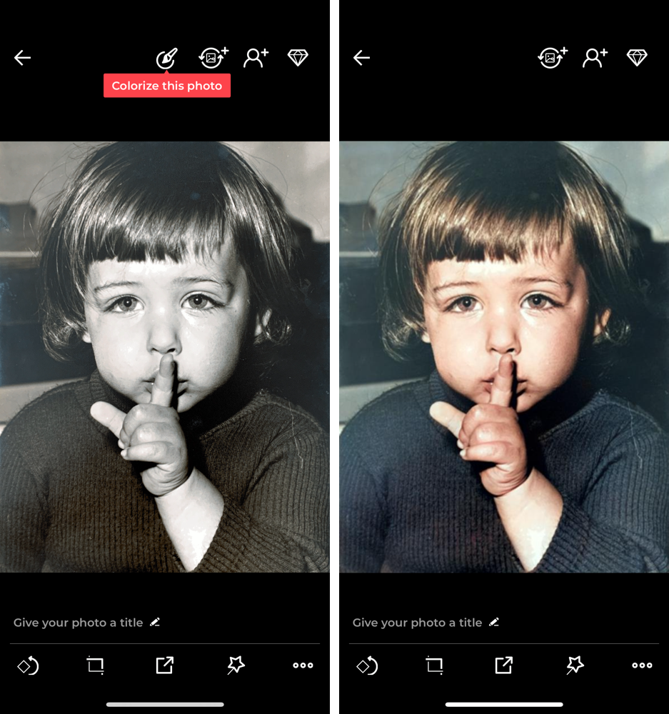Once you select an image, tap the Colorize icon in the top right corner then hit 'Colorize this photo' when prompted to reveal your colorized image.