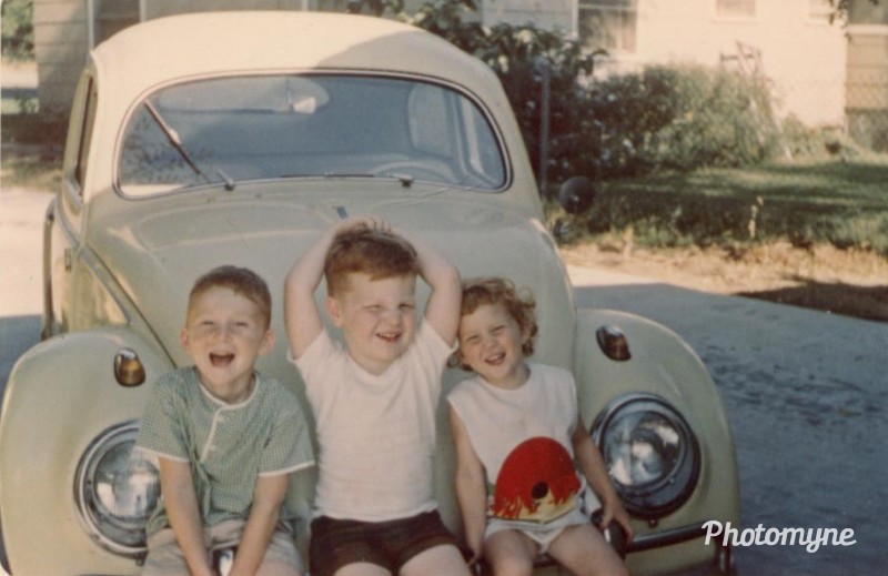 Cousins - Photo taken by one of our parents - Cannot recall whom. Sitting on the front bumper of One of Uncle Jack's VW Bugs. Found this photo in one of my mother's boxes of pictures. Monett, Missouri, USA - 1967. Shared by David Ellis