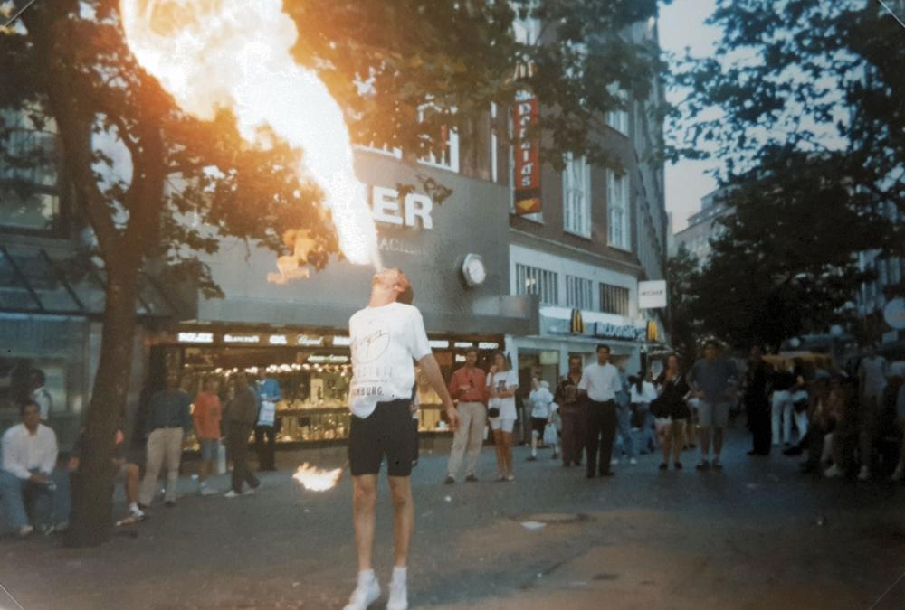 A fire-breathing Lutz in Hamburg, Germany, 1992