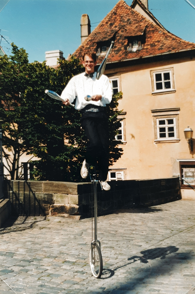 Juggling on a unicycle in Bamberg, Germany, 1992