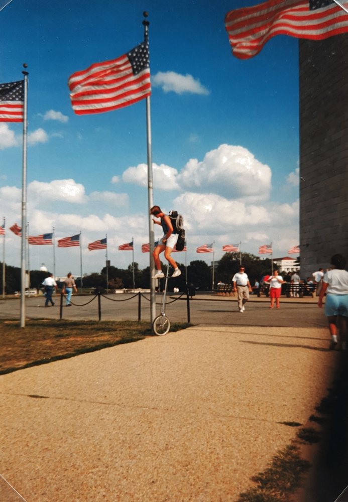 The Washington Monument gets a lesson on unicycling, 1992