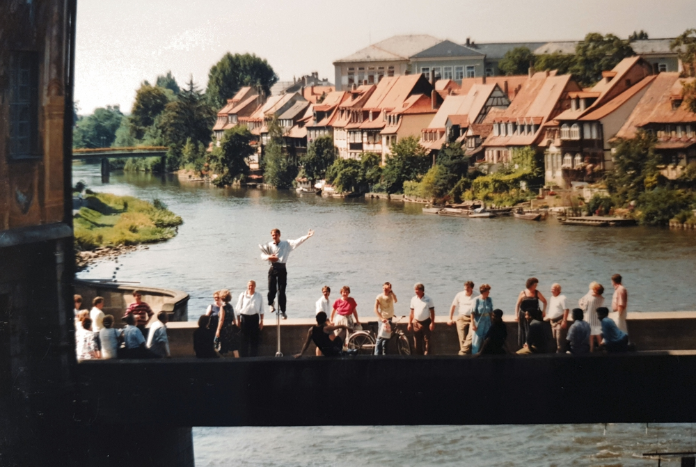 Entertaining from atop a bridge in Bamberg, Germany, 1992