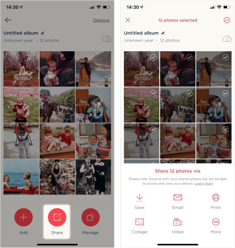 アプリから写真を共有する方法