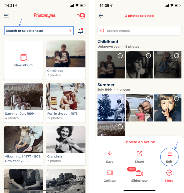 After tapping 'Search or select photos', you can perform batch actions, including editing the details of multiple photos at once.