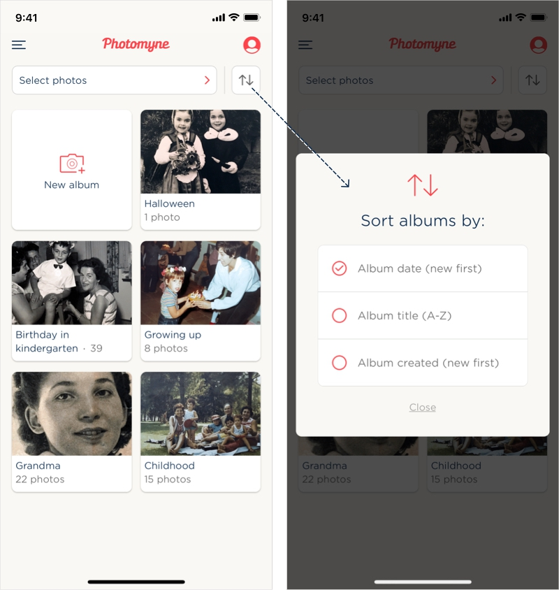 Photomyne subscribers will have these options available for album sorting.