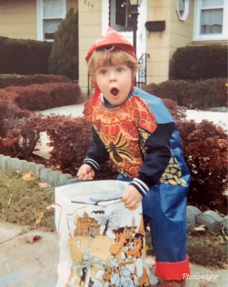 William, 3, trick-or-treating. The first house was Grandma Scott. He lifted his mask and said, Wow, look what I got Mommy - Massapequa, 1983 - Photo credit: Bill Powers