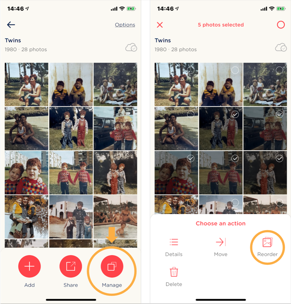 Left: Open the album's management options menu. Right: After selecting photos, tap the Reorder menu item