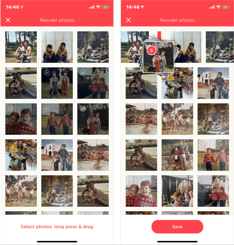 Left: the photo reordering screen - selected photos will have the check sign tag. Right: Drag and drop the photos where you wish