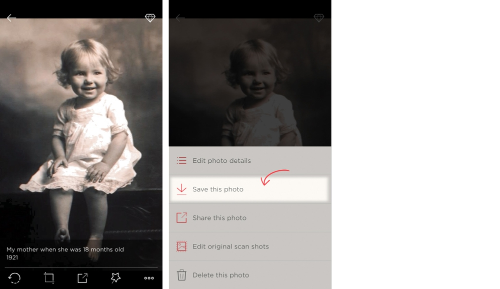 Go to the photo with details you'e like to save, and tap the options menu. Select 'Save this photo.'