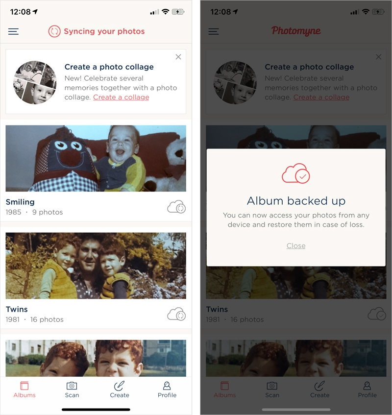 Joining Photomyne means all your photos are backed up and makes it possible to access them on photomyne.com by logging in with your username and password.