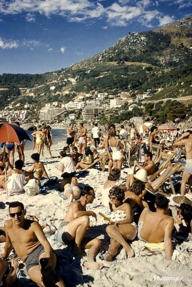 Beach-goers pack it in. 4th Beach, Clifton, Cape Town, South Africa - 1960. Shared by Hilda Coetzee