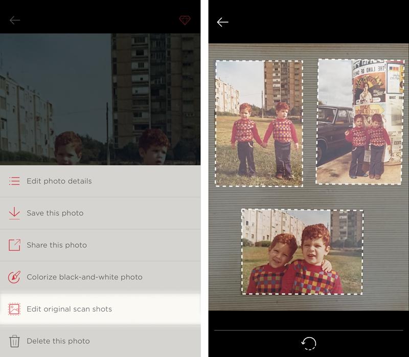 Tap Edit original scan shots to re-edit a photo