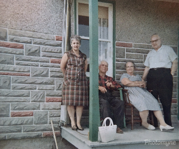 Mom, Aunt Josephine, Uncle Philios and Dad in Limoges, Ontario. Canada 1960