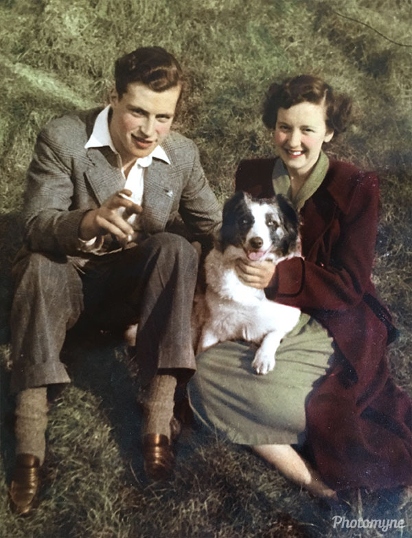 Mum and Dad with Blondie the dog. UK 1951