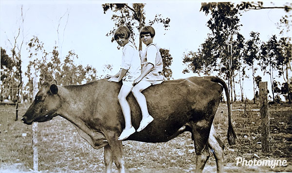 The cousins Ruby and Violet taking Beauty for a ride. Toowoomba. Australia 1925