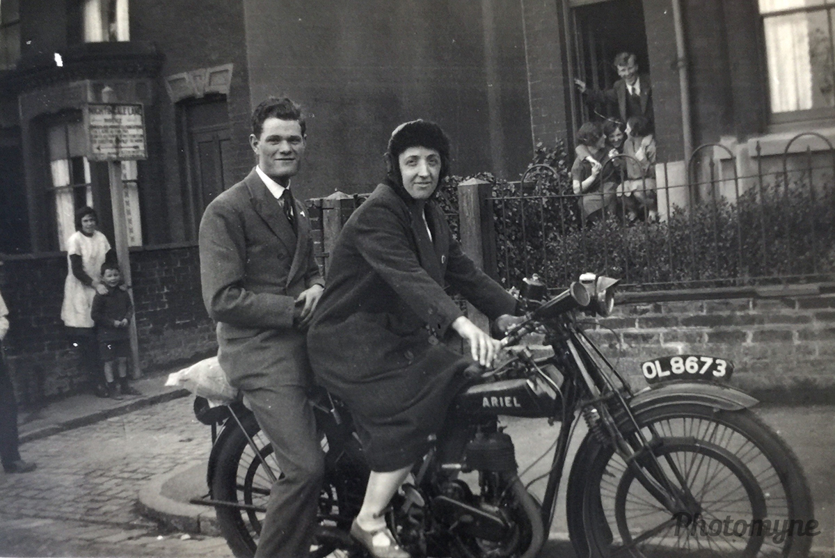 Born to be wild! Taking the bike for a spin in London. UK 1930