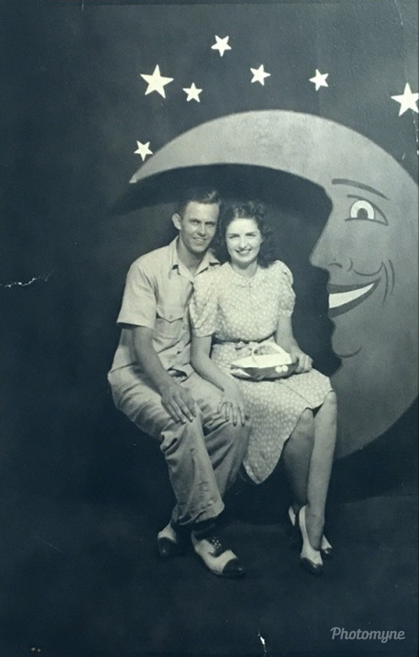 Jim & Kitty Brown on the boardwalk in Ocean City, Maryland, US 1940