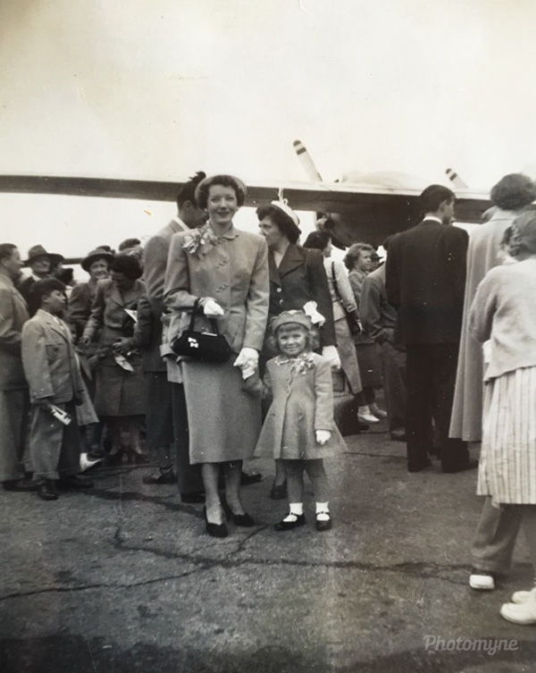 My mother and I were featured in a Burbank, CA newspaper preserved here. The occasion was an historic chartered flight for British war brides. Final destination was Coleraine, Northeen Ireland, 1951