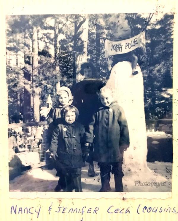 Nancy & Jennifer Cech (cousins), and Patty Carey & Lynden Raber at Santa's Village, San Bernardino mountains, 1956, Lake Arrowhead Village, US