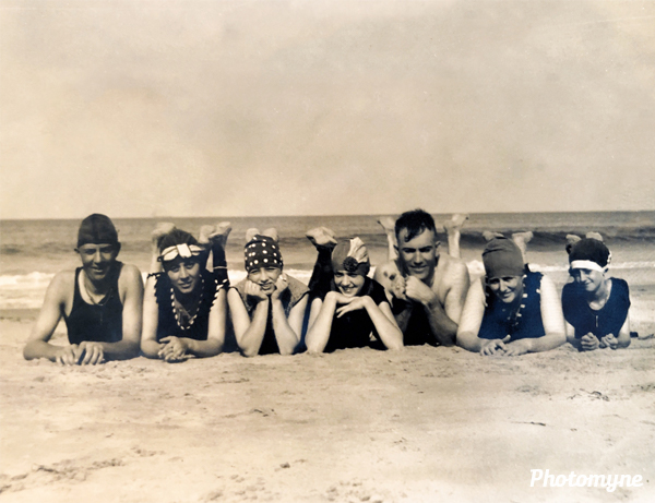 Virginia Beach Party. From left to right: unknown, Ruth Knapp Bacon, Thelma Buchanan, Aline Beck, George Marion Bacon Sr., Olive Carraway Bacon, and Olive Marvil Carraway. USA 1923