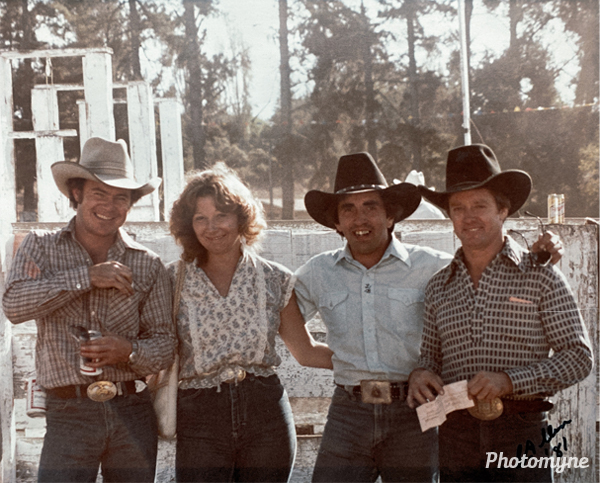 My father was a bronco rider in the 80s. This is him in all his 80s cowboy glory. He is on the far left. USA 1980s